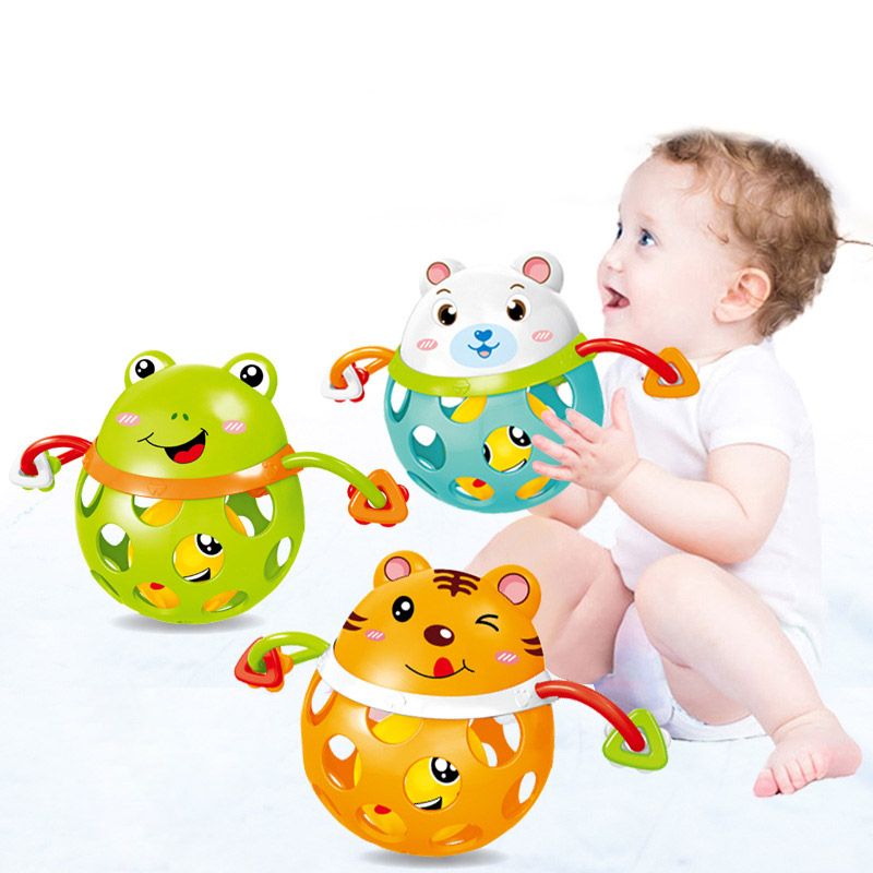 Cute Baby Silicone Hand Rattle Animal Frog Tiger Grasping Gums Teether Infants Toy Educational  Baby Toys AN88