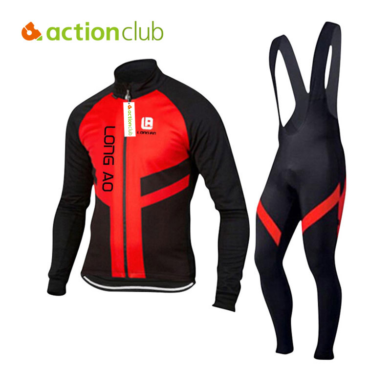 ФОТО Actionclub Men Long sleeve Cycling Jerseys Sets Straps Fitness Clothes Winter Bicycle Bike Clothing Male Running Set