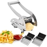 Stainless Steel French Fry Cutter 2 Size Blades Non Slip Potato Chip Chipper Kitchen Vegetable Fruit Slicer Chopper Dicer