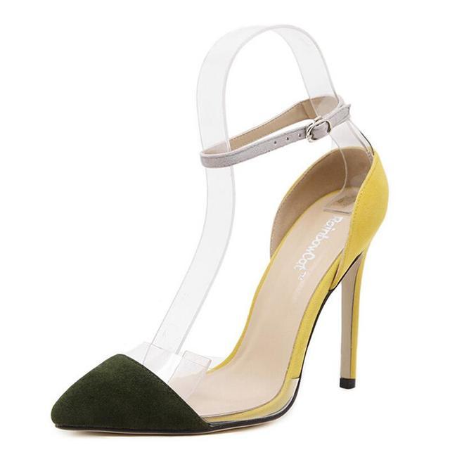 2016 Novas Mulheres Da Moda Hasp Bombas Transparências Fresco Cor Feitiço Verão Rasa Boca-de Salto Alto Sapatos Stiletto/Festa sapatos