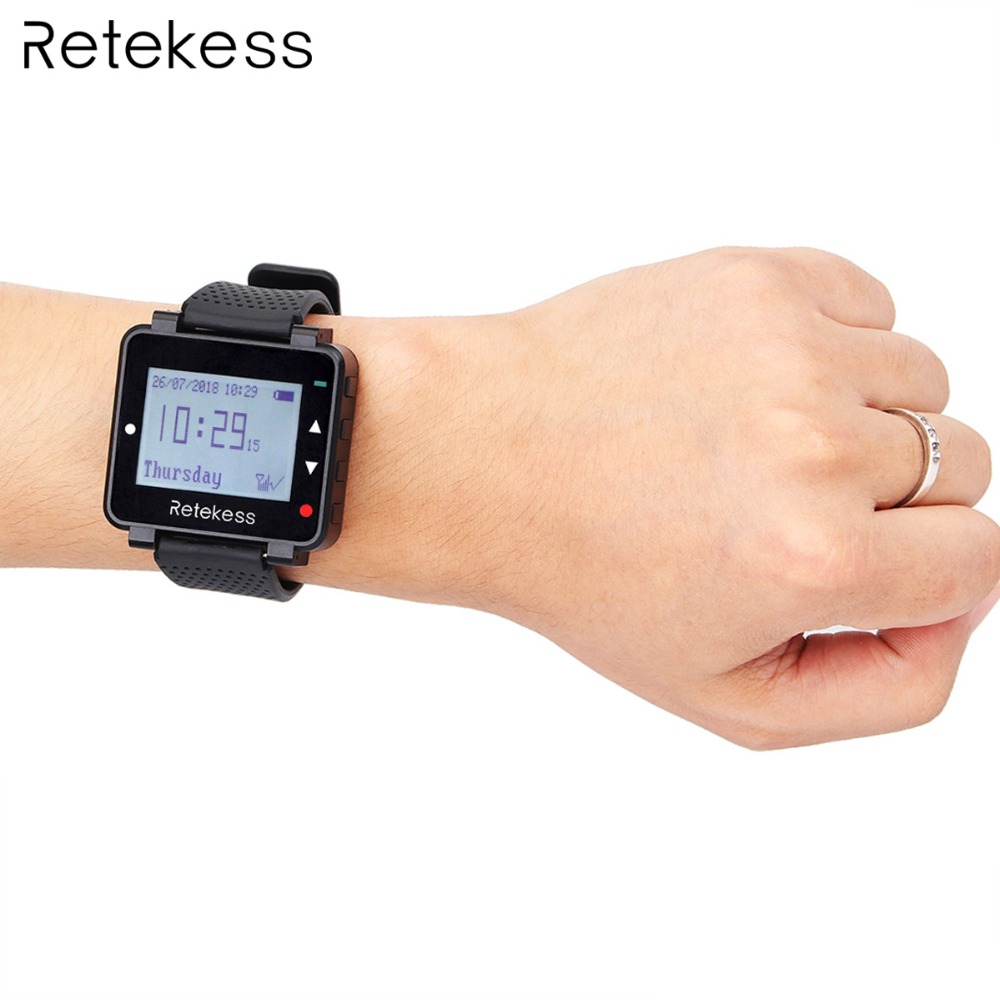Retekess T128 433.92MHz Watch Receiver for Wireless Calling System Waiter Call Pager Restaurant Equipment Customer Service 2016 new wrist watch pager coffee house call bell system restaurant wireless call calling system waiter service paging system