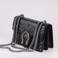 Fashion Rivet Chain Casual Shoulder Bag Messenger Bag Retro Women Leather Bag Handbag Ladies Tote Motorcycle