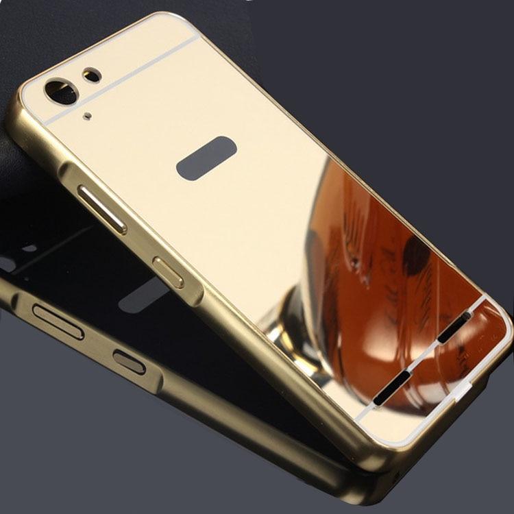 Para lenovo a6020 case espejo de aluminio de parachoques del metal + pc dura vol