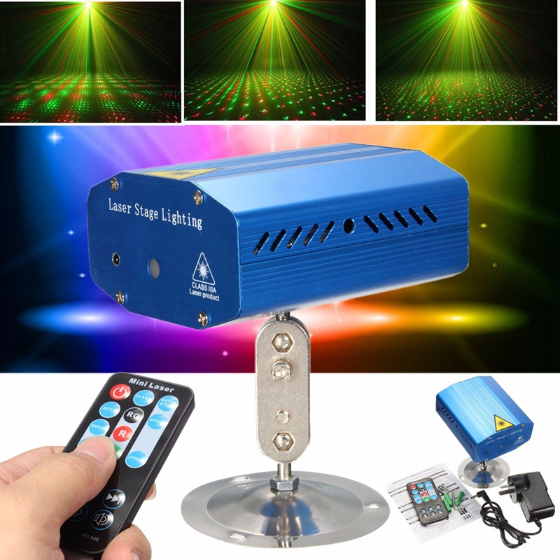 New Auto/Voice R&G Mini LED Stage Lamp Light Laser LED Stage Lighting Effect Projector X-mas Party Disco New Year Decor Lights тюбинги r toys snow auto mini