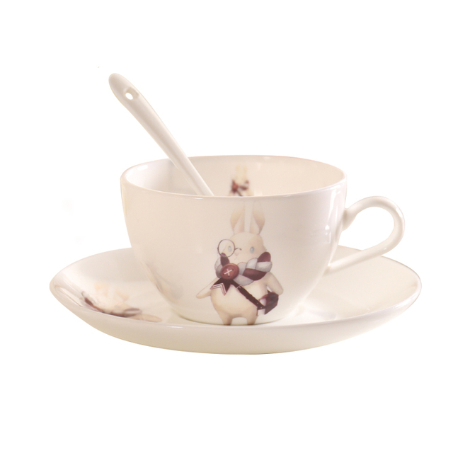 Cute China Ceramic Cup Saucer Set Creative Afternoon Tea Flower Coffee Dish Spoon Bone