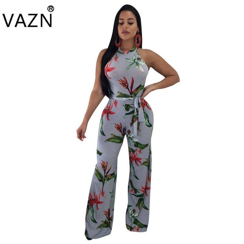 VAZN 2018 Fashion hot sales halter hollow out plant print jumpsuits women sleeveless jumpsuits ladies bohemian jumpsuits R6063