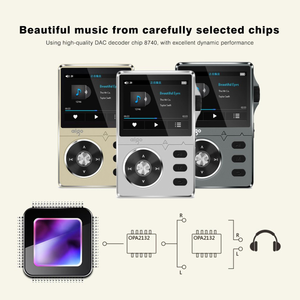 Aigo Zinc Alloy HiFi 2.2 Inches 8GB MP3 Player High Quality Sound Lossless Music Support APE/FLAC/ WMA/ WAV/OGG/ACC Perfect Gift