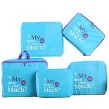 5 Unids Azul de Nylon De Malla Con Cremallera Equipaje de Viaje Bolsa de Almacenamiento Organizador Caja Ropa Maleta Portátil Bolso Bolsa Contenedor Divisor