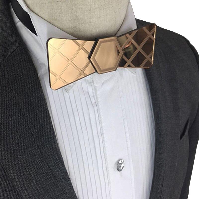 Mirror Bow Tie Wooden Embossed Pattern Bow Tie Acrylic Mirror Metallic Self Tie Bow Tie Gift Box Wedding Bow Tie Women Tuxedo