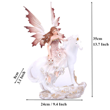 Miniature Figurines 13.7 Resin Forest Magic Unicorn Horn Angel Flower Fairy Horse Craft Vintage Home Decor Decoration