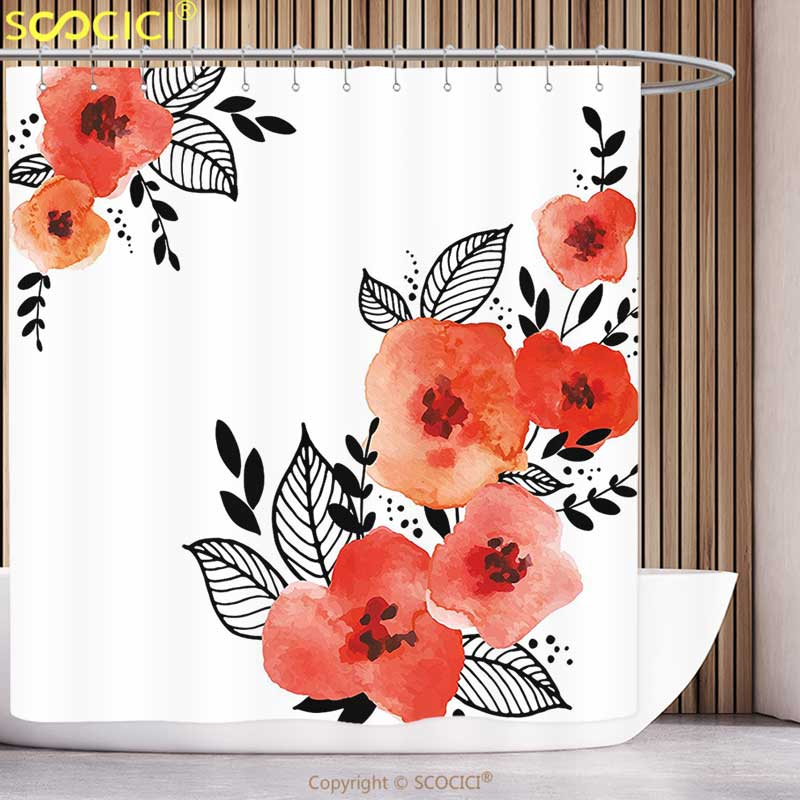 Floral Shower Curtain Hibiscus Flower Pastel Print for Bathroom