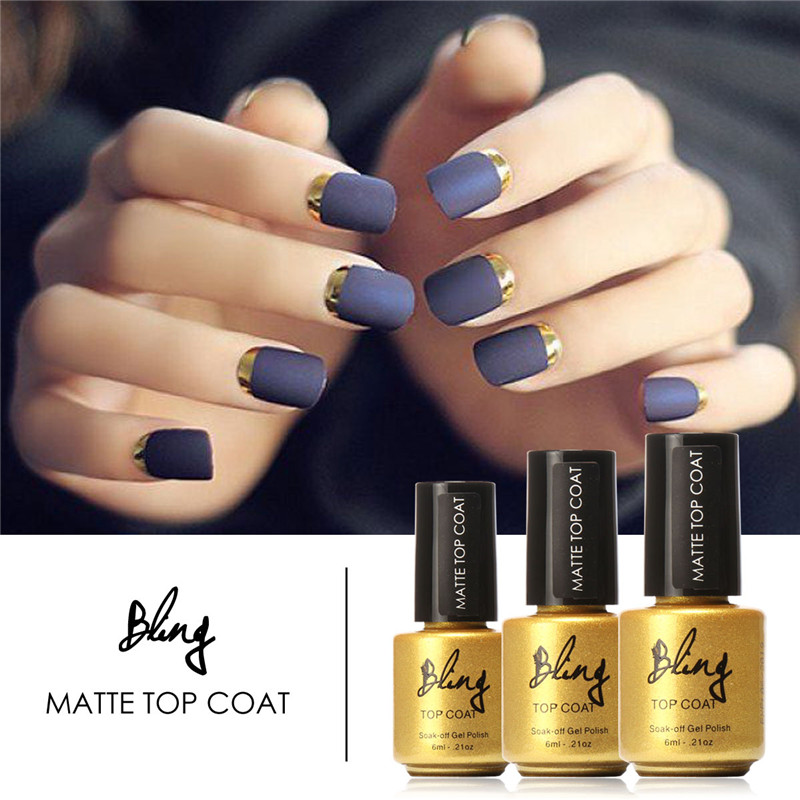 FOCALLURE 6ml Matt Matte Top Coat Nail Gel Polish Nail Art Tips Dull ...