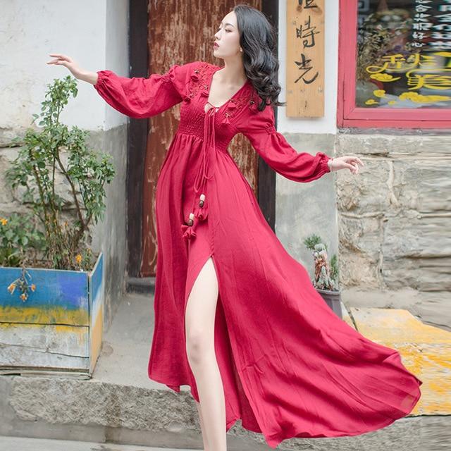 2db6bdd52b4 YOSIMI 2018 Spring High Quality Maxi Elegant Cotton And Linen Designs Fairy Long  Dress For Travel
