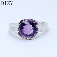 DIZY Natural Purple Amethyst Round Cut Gemstone Ring Solid 925 Sterling Silver Ring for Women Wedding Engagement Jewelry
