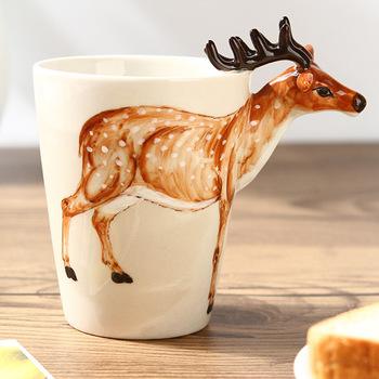 3 d zwierzęcy kubek czysta ręka malowany kubek ceramiczny śliczny kubek w stylu kreskówki kubek filiżanka kawy 350 ml tanie i dobre opinie CN (pochodzenie) Porcelany kubki do kawy cartoon Bez elementów Uchwyt Mugs