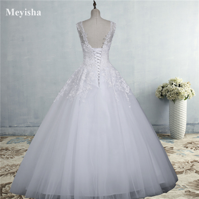 ZJ9036 lace White Ivory Gown Lace up back Croset Wedding Dresses 2019 for bride plus size maxi Customer made size 2-26W 2