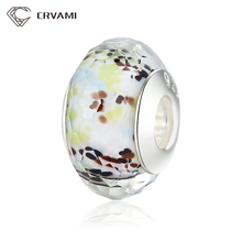 CRVAMI Beads, Exquisite Silver Plated Tropical Sea Translucent Glass Beads Fit Bracelet & Necklace Jewelry Making