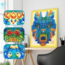 DIY 5D tiger diamond painting head animals dimaond embroidery full drill mosaic round