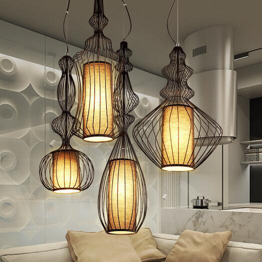 Nordic Metal Bird Cage Droplights Modern American birdcage Pendant Lights Fixture Home Indoor Bedroom Dining Room Foyer Lighting