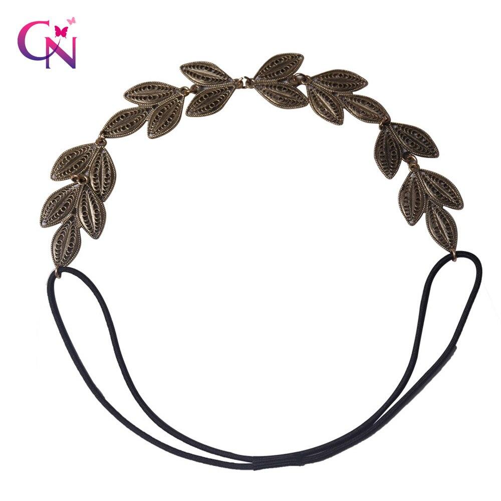 Hot Sale Women Metal Headband Gold Leaves Elastic Hairband Trendy Handmade Party Bohemian Hair Accessories   Headwear   Crown Tiara