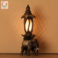 TUDA 18x53cm Free Shipping Southeast Asia Style Table Lamp Hand Carved Wooden Elephant Table Lamp For Living Room Bedroom E14