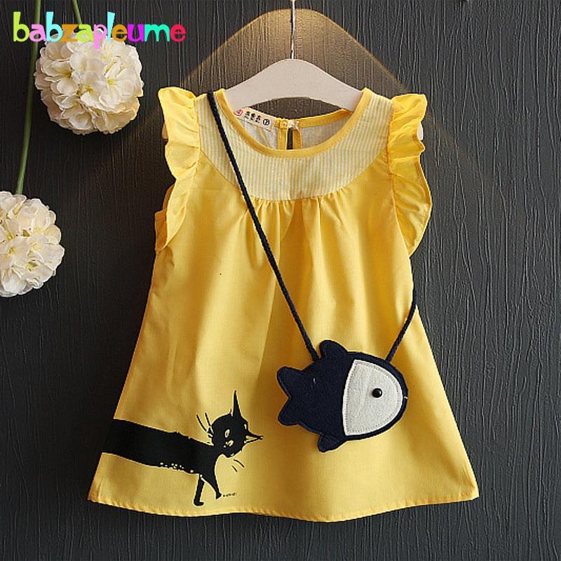 Cartoon Cat Catch Fish Design Summer Toddler Girls Clothing Kids Clothes Sleeveless Baby T-shirt +Bag Children Costume BC1170