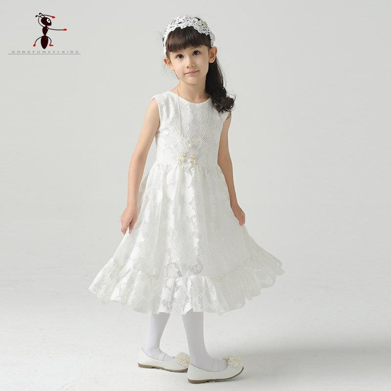 Kung Fu Ant 2018 Lace white Girls Summer Sleeveless Dress O-neck Chiffon White Vestido Infantil Kids Dress Cloth B0027 женское платье summer dress 2015cute o women dress