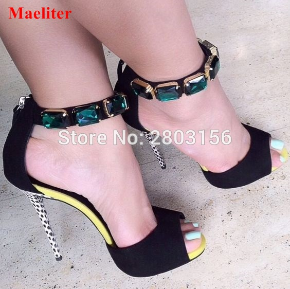 Summer Ankle Strap sandals female sexy crystal shoes woman Thin High Heels Open Toe pumps shoes new arrival black brown leather summer ankle strappy women sandals t strap high thin heels sexy party platfrom shoes woman