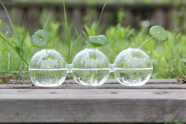 Handmade glass tabletop vase , conjoined 3pcs balls vases, flower vase , home decoration free shipping