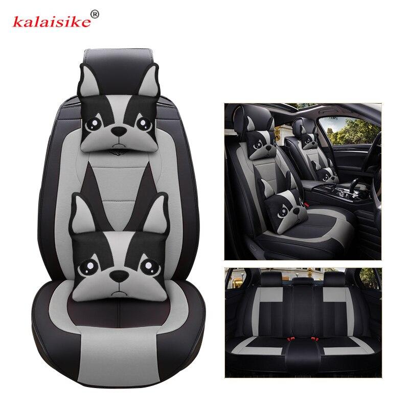 Kalaisike leather Universal Car Seat covers for Volkswagen all models polo vw passat golf tiguan Passat jetta Phaeton touareg
