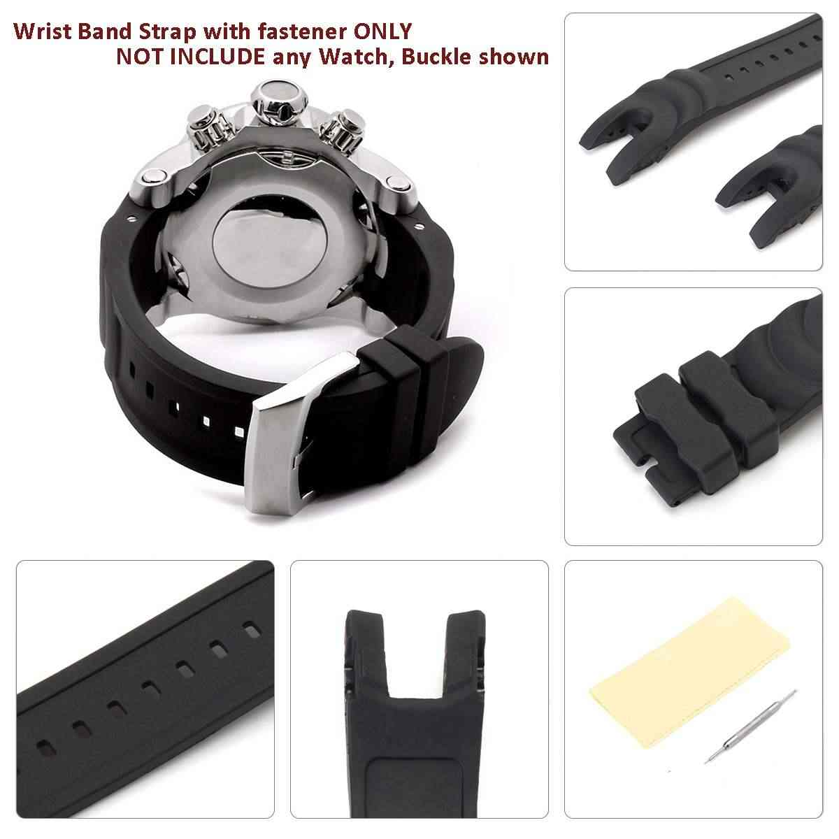 New 26mm Black Rubber Wrist Watch Band Strap Replacement For Invicta Reserve Collection Venom Durable Two Piece Strap