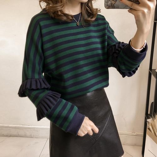 M-4xl Striped Sweatshirt Pullovers Women Plus Size Spring Autumn Ruffles Long Sleeve Tops Casual Harajuku Feminino White Green 3