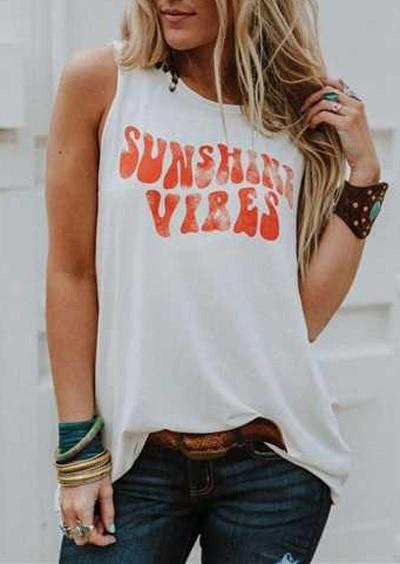 Fashion Women Tank Top Summer Sleeveless Female T Shirt Sunshine Vibes Letter Print O-Neck Tank Casual Lady Tank Tops