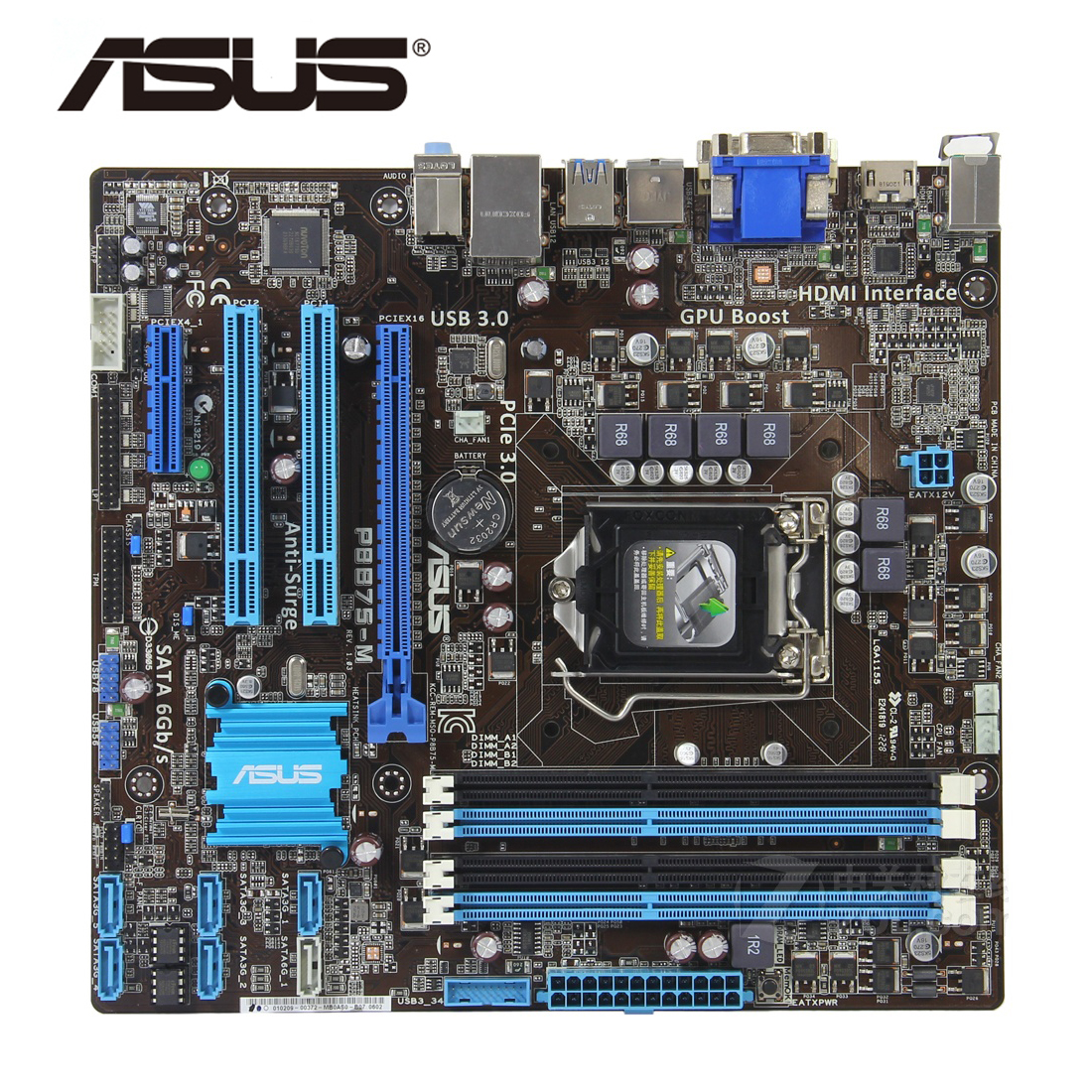 LGA 1155 B75 100% Original ASUS P8B75-M P8B75M/CSM Motherboard Socket SATA III 4 x DDR3 32GB USB3.0 P8B75-M/CSM Mainboard Used(China)