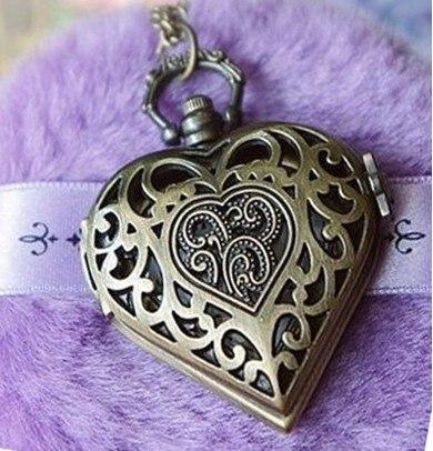 quartz pendant antique bronze tone heart shape ladies necklace pocket watch in pocket fob. Black Bedroom Furniture Sets. Home Design Ideas