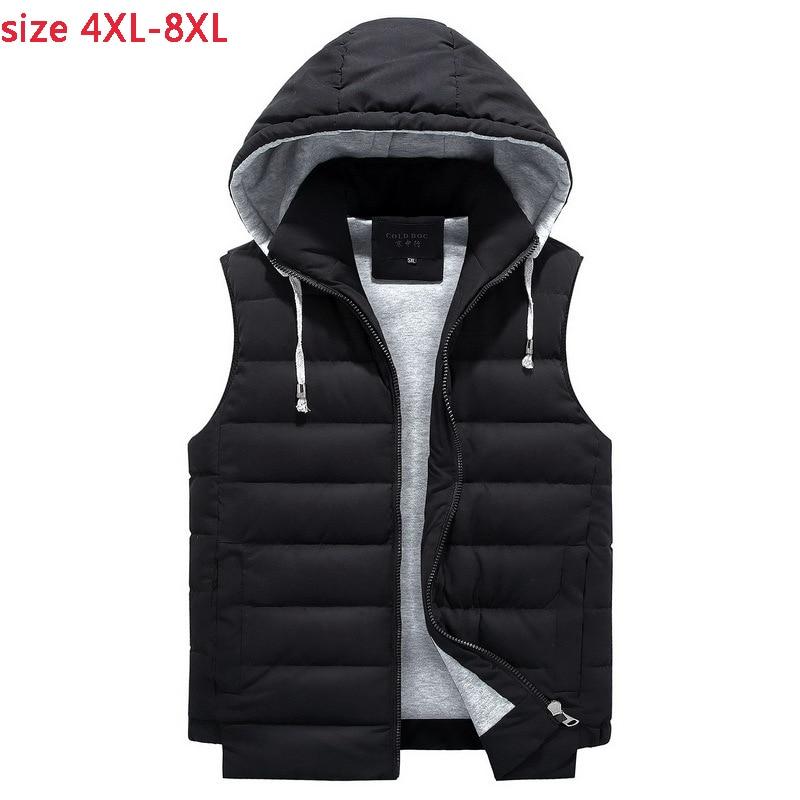 New arrival Mens Winter Men super Large Vest Cotton Padded Jacket Casual Loose Zipper Casual Male plus size 4XL 5XL 6XL 7XL 8XL
