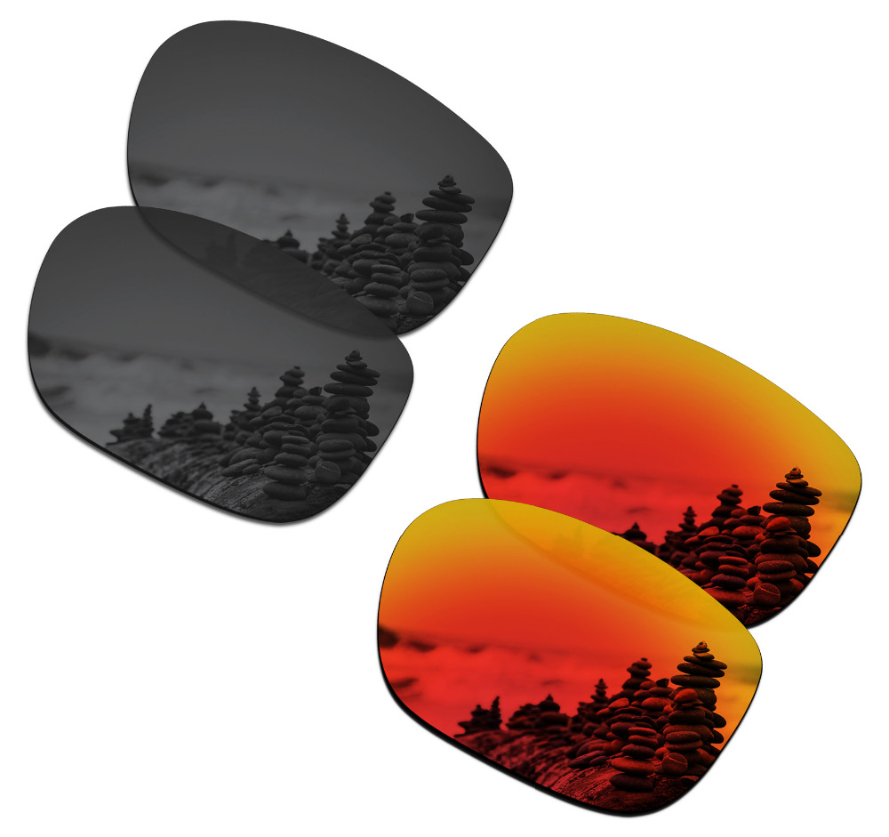 SmartVLT 2 Pairs Polarized Sunglasses Replacement Lenses for Oakley LBD Stealth Black and Fire Red