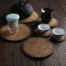 Креативный ручной подстаканник коврик для чайника бамбуковый коврик изоляционный коврик для чайного столика церемония шесть джентльменов чайное искусство чайная церемония аксессуары