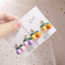 Korea Handmade Cartoon Acrylic Cherry Women Drop Earrings Dangle Earring Fall Winter Fashion Jewelry Accessories-JQD5