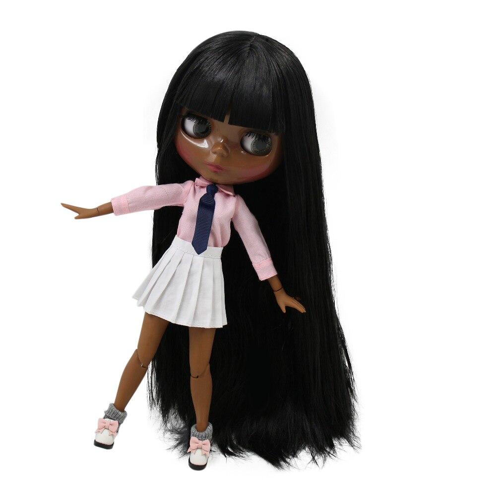 Oyuncaklar ve Hobi Ürünleri'ten Bebekler'de BUZLU servet gün fabrika blyth doll süper siyah cilt tonu koyu cilt siyah saç YAĞLı SAÇ 280BL9601 normal/ortak vücut 1/6 30cm'da  Grup 1