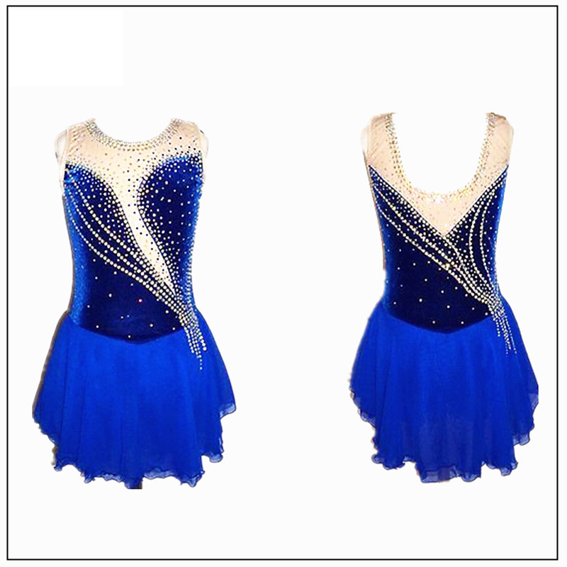 Graceful Figure Skating Dress Girl's Customized Ice Skating Dress Sleeveless Gymnastics Costumes Free Ship