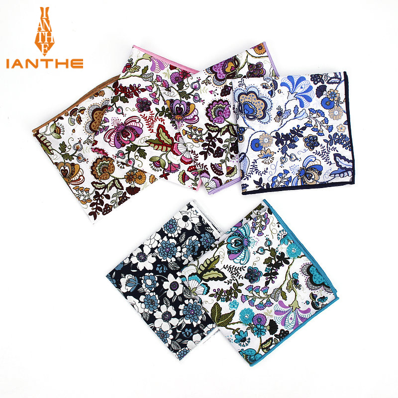 Luxury Men Suits 100% Cotton Handkerchief Floral Flower Pocket Square Hankies Men's Wedding Fashion Square Pockets Hanky Towel