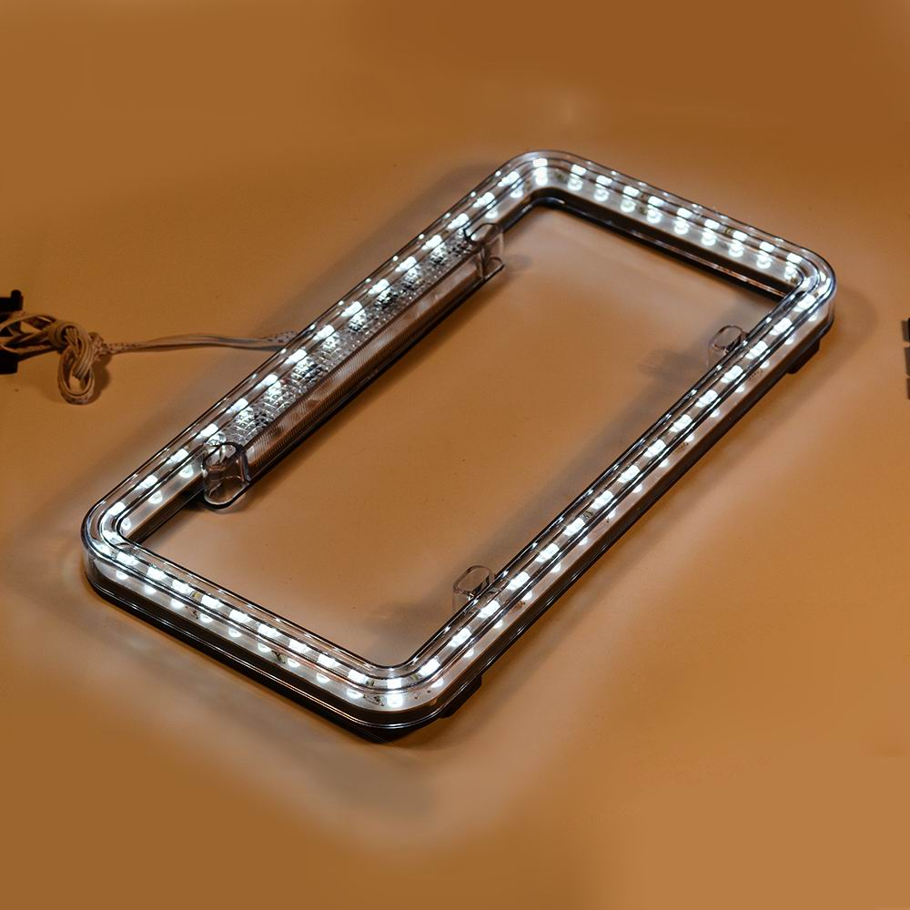 Car colour number plate - Car Styling Number Plate 14v White Led Lighting Acrylic Plastic Rear License Plate Cover Frame