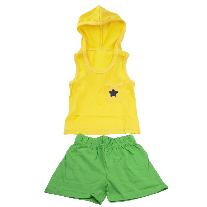 MACH boy girl children clothing cotton summer baby kids cloth suit set vest + short hooded sports sets star yellow 130cm