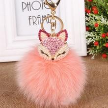 Luxurious Big Real FOX Hair  Fur Ball Fur Pom Pom Crystal Fox Bag&Car Key Chain Jewelry Wholesale Retail Bag Charms Key Ring