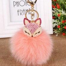 Luxurious Big Real FOX Hair Fur Ball Fur Pom Pom Crystal Fox Bag Car Key Chain
