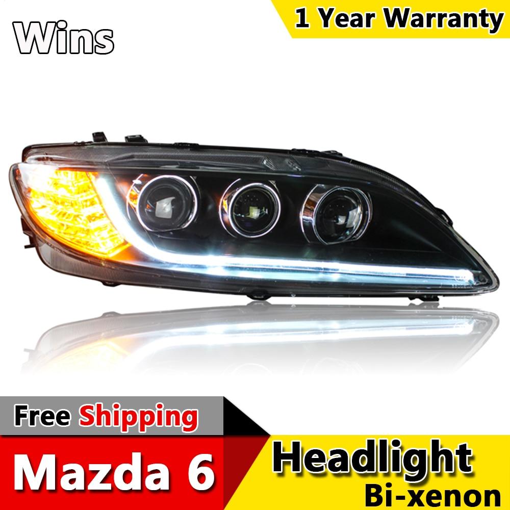 wins lights for mazda 6 headlights 2004 2013 mazda6 led headlight universal type drl bi xenon lens high low beam parking [ 1000 x 1000 Pixel ]