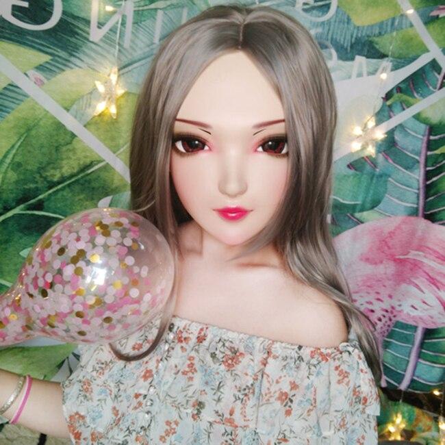 Kids Costumes & Accessories hua-04 female Sweet Girl Resin Half Head Kigurumi Mask With Bjd Eyes Cosplay Japanese Anime Role Lolita Mask Crossdress Doll