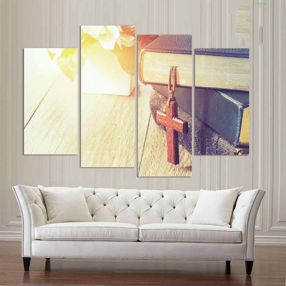 Wall Pictures Framed Home Decor Living Room 4 Panel Wooden Cross ...