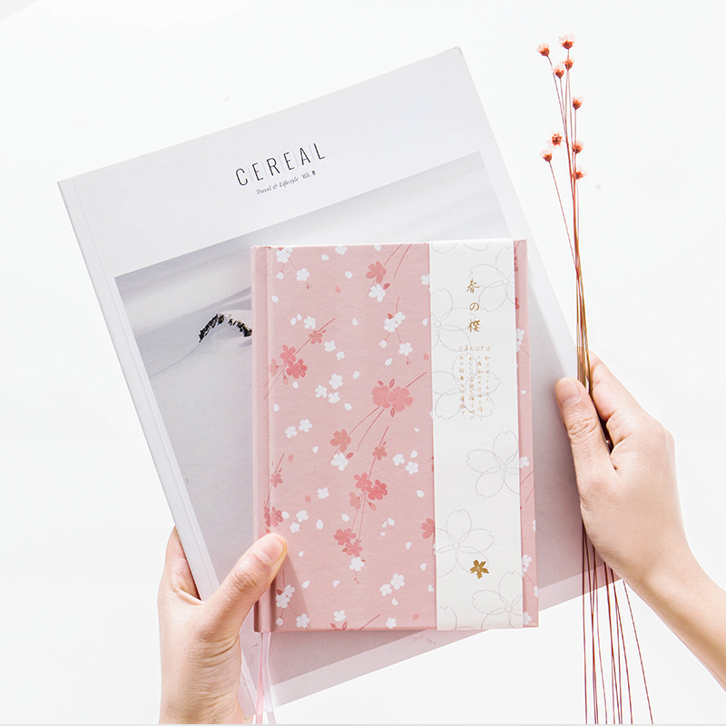 Sakura Hardcover Cute Janpanese Style Notebook DIY 2017 Planner Diary Note Book Office and School Supplies caderno 4 Colors 1pc creative cute cartoon animal planner notebook diary book wooden school supplies student gift